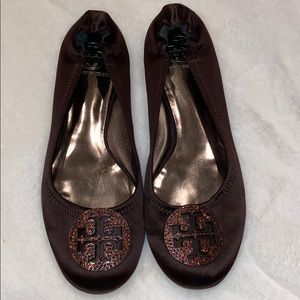 Tory Burch Brown Satin Reva Flats with Crystals